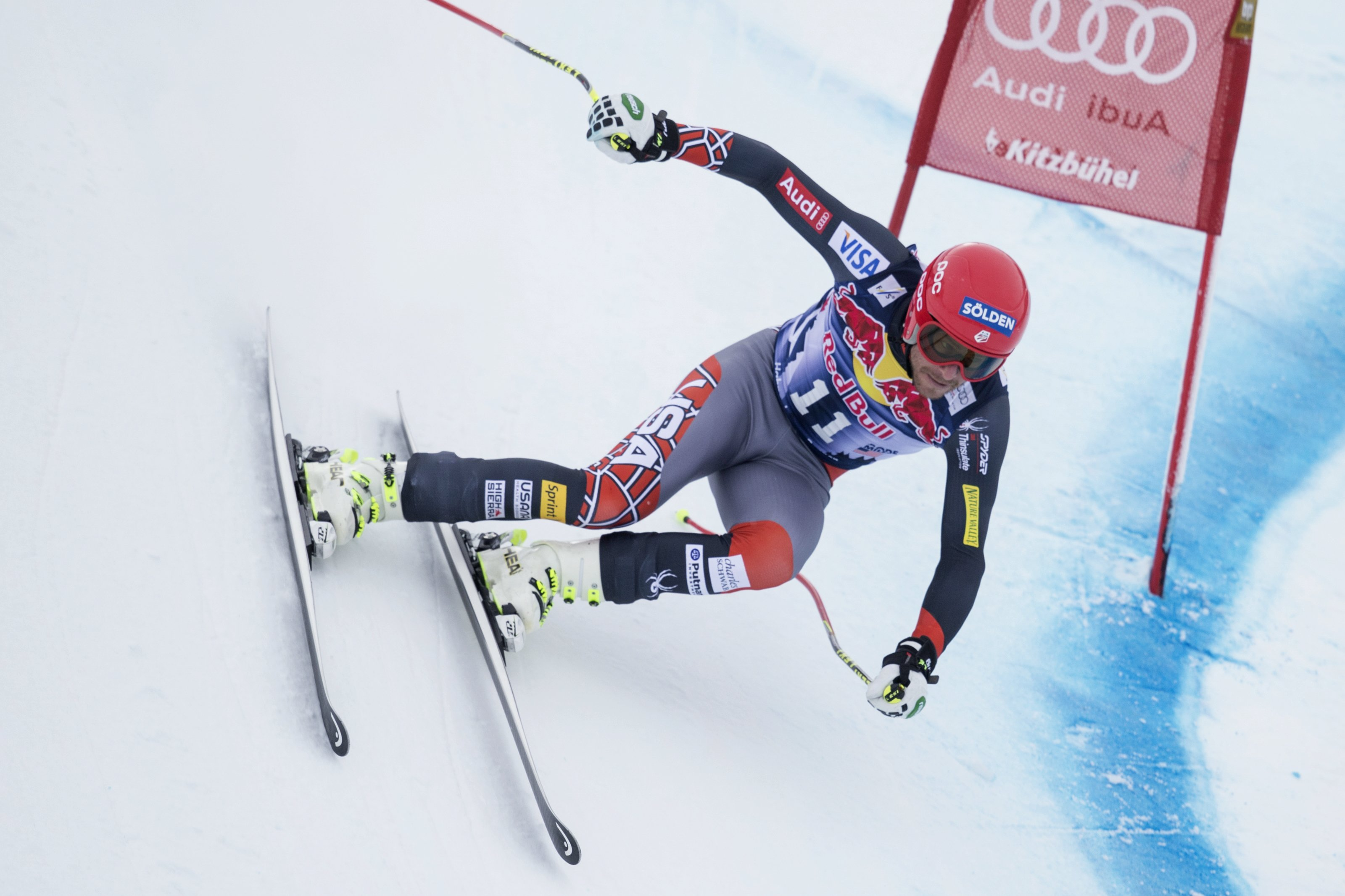 Bode Miller competes during the downhill at the Hahnenkamm Race 2014 in Kitzbuhel, Austria. PHOTO: Red Bull Content Pool