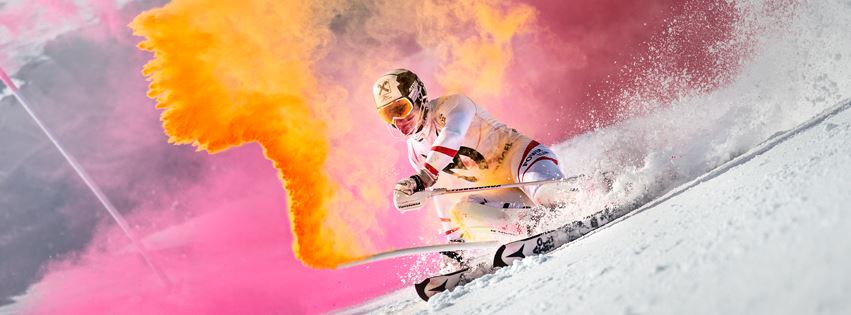 Skier makes turn with color