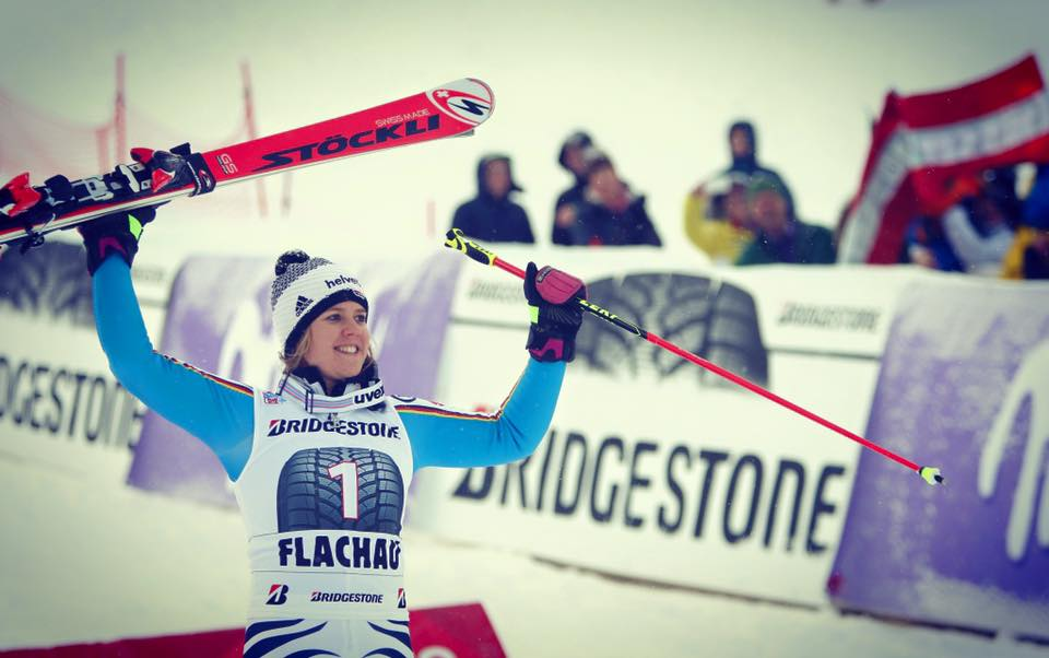 Viktoria Rebensburg lifts skis