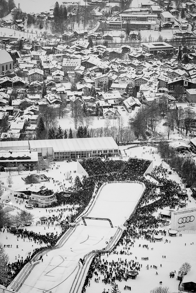 Festive crowds gather at the finish line to witness the carnage and glory. The Hahnenkamm finish line in 2013. PHOTO: David Reddick