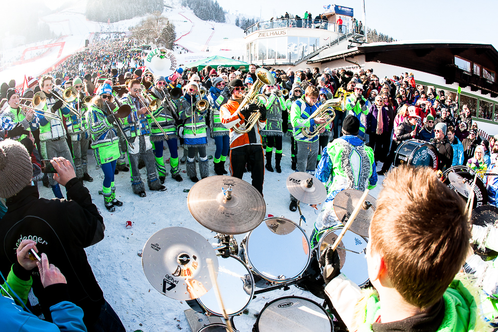 And the band plays on, at the Hahnenkamm finish line. PHOTO: David Reddick
