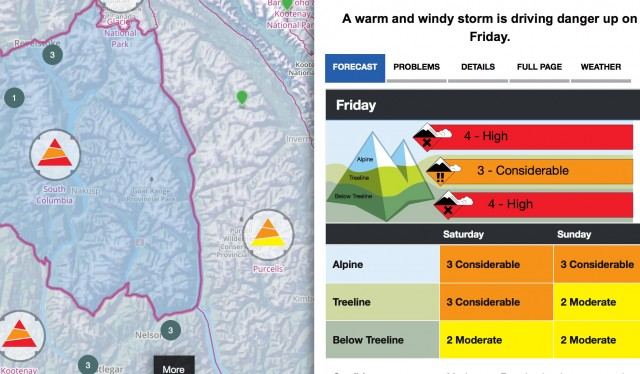 Considerable to High avalanche rating for the Kootenays of Interior B.C. PHOTO: Avalanche.ca