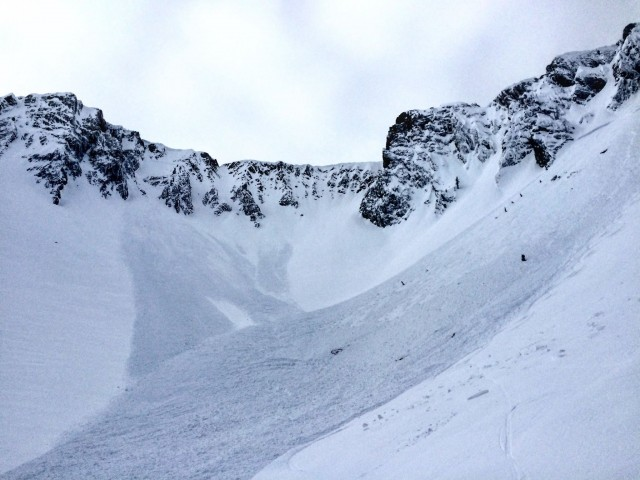 "The first skier of three triggered a large avalanche in Frazier Basin on ""Big Red"" in the northern Bridger Range. No one was caught. PHOTO: Friends of the Gallatin National Forest Avalanche Center"