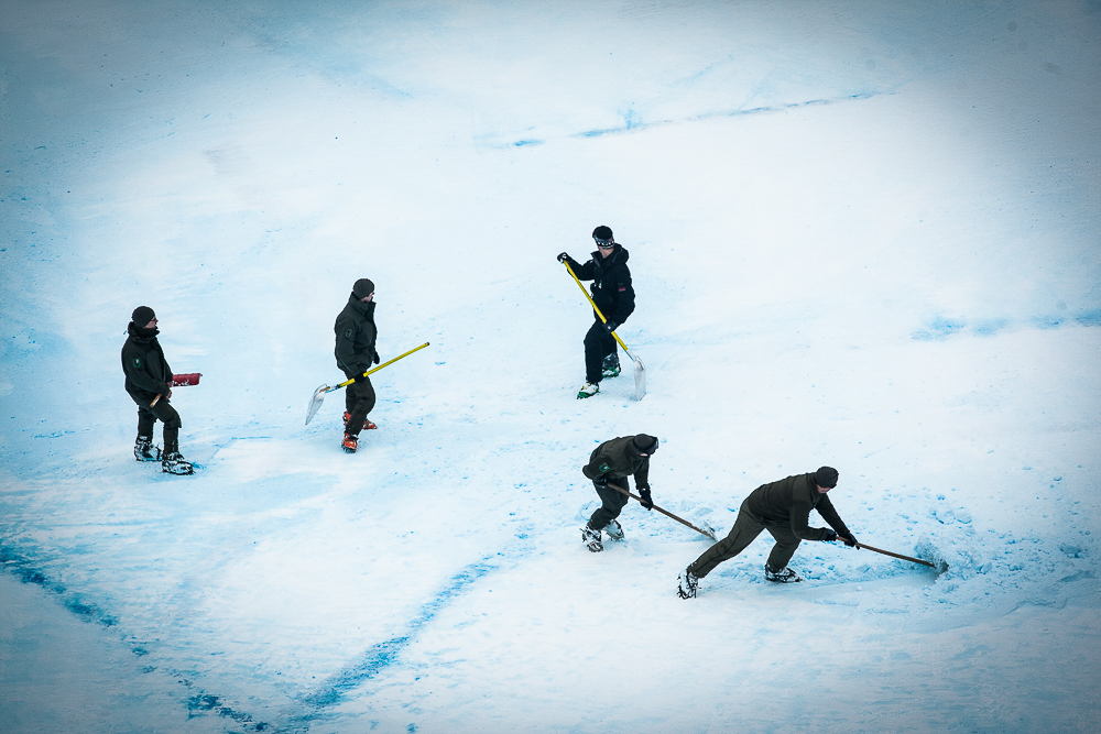 A crew does what they can to keep conditions safe on the course. PHOTO: David Reddick