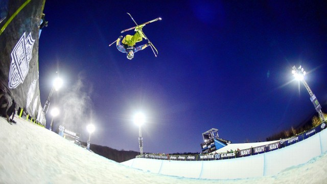 David Wise crushed a rightside double cork 1440 mute grab at the 2015 Winter X Games. PHOTO: Joshua Duplechian/ESPN
