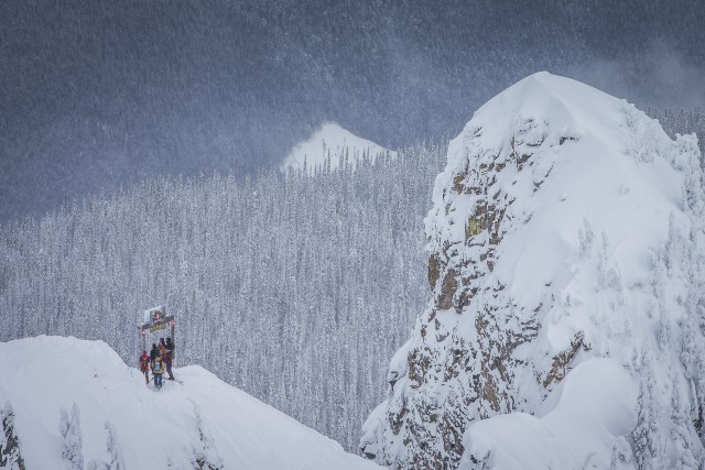 A dramatic drop-in at Revelstoke's Big Mountain venue. PHOTO: Scott Serfas/Red Bull Content Pool.