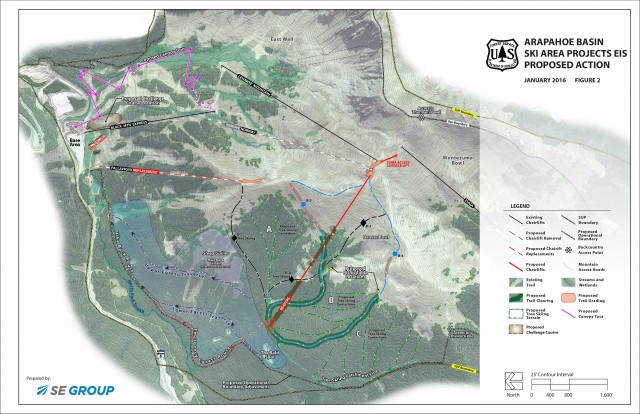 A map shows the proposed projects at Arapahoe Basin. PHOTO: Courtesy of Arapahoe Basin