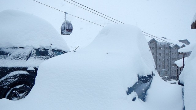 Nothing to see here. Almost two feet of snow covers Val Thorens, Europe's highest ski area at 7,545 feet above sea level. PHOTO: Courtesy of Annie Martinez