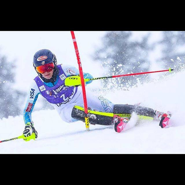 Ski racer Mikeala Shiffrin makes turn in World Cup race