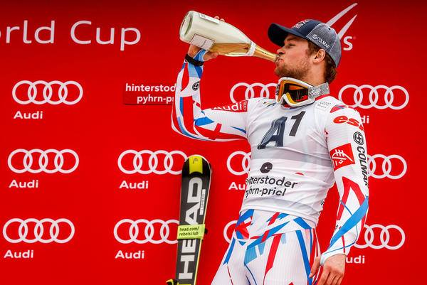 Frenchman Alexis Pinturault celebrates his three-peat victory. PHOTO: Courtesy of Pinturault