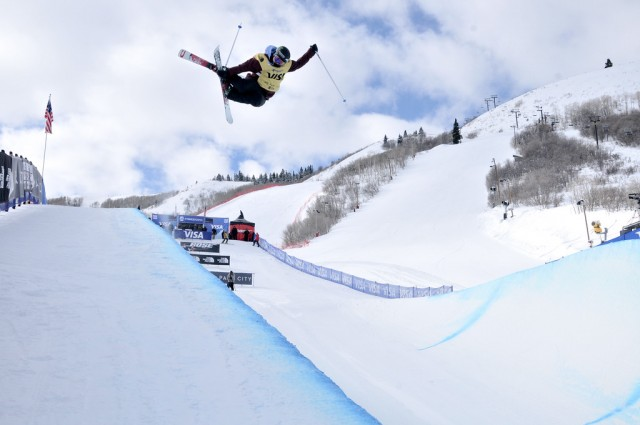 Spin to win or win to spin? Logan skis the pipe her way, and it's paid off. PHOTO: Sarah Brunson/USSA