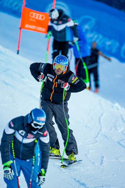 Nyman inspects the course prior to the Birds of Prey Alpine World Cup Downhill. PHOTO: Jonathan Selkowitz