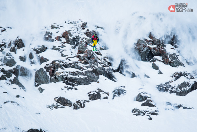 Reine Barkered put down first place runs in Veriber in 2012 and 2014. Is this the year for a three-peat? PHOTO: David Carlier/ Freeride World Tour