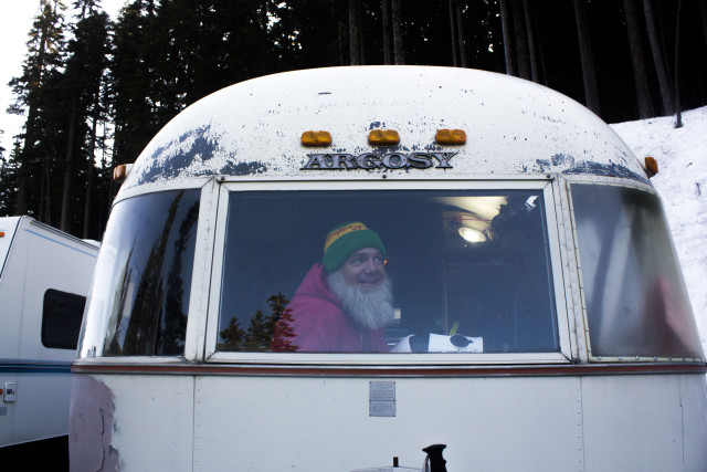 Up and at 'em. Buck Cobb is ready to go before the sun in the Stevens Pass RV Lot. PHOTO: Kade Krichko