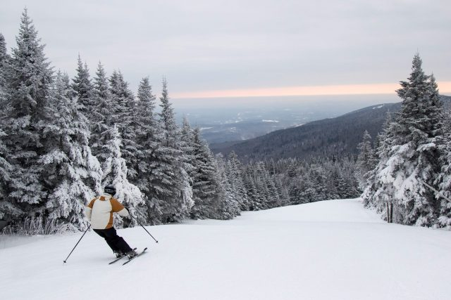 Two hours from Boston, Mount Snow sees 156 inches of annual snowfall and relies on snowmaking for 80 percent of their coverage. PHOTO: Courtesy Mount Snow
