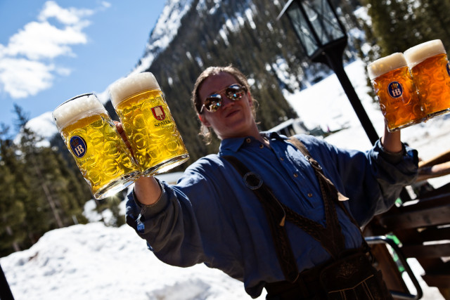 The Bavarian keeps it chill on backside of Taos, with its special Sandwich in a Glass.