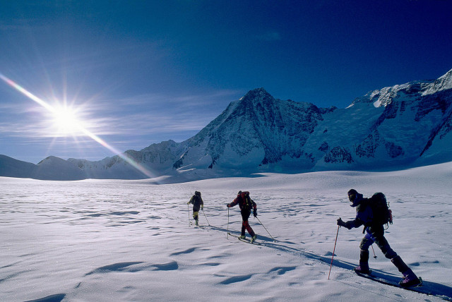 Antarctica. Alex Lowe, Conrad Anker and Dave Hahn approach Mount Tyree, in Antarctica. PHOTO: Gordon Wiltsie