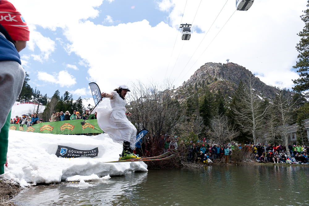 This year, competitors had to land a five-foot drop before skimming across the pond. PHOTO: Hank de Vre