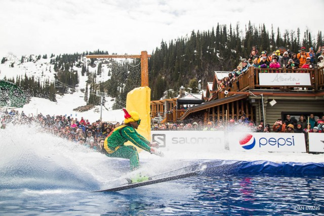 The first ever Pond Skimming World Cup Champion, Errol Kerr, keeps it low and tight on his way to victory. PHOTO: Dan Evans