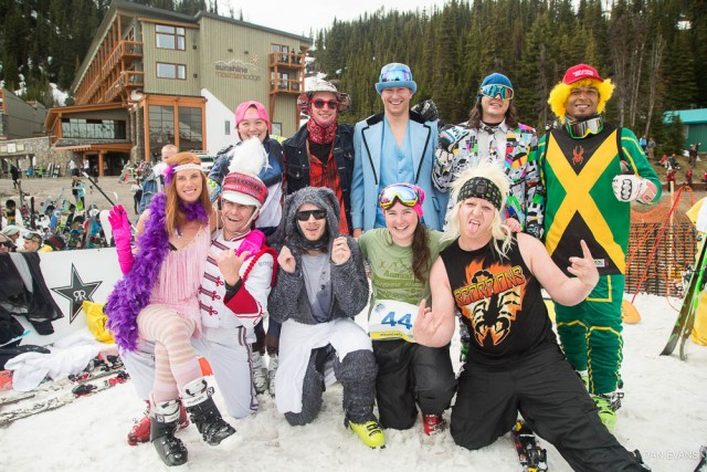 The inaugural class of Pond Skimming World Cup Championship qualifiers. Look good, skim good. PHOTO: Dan Evans