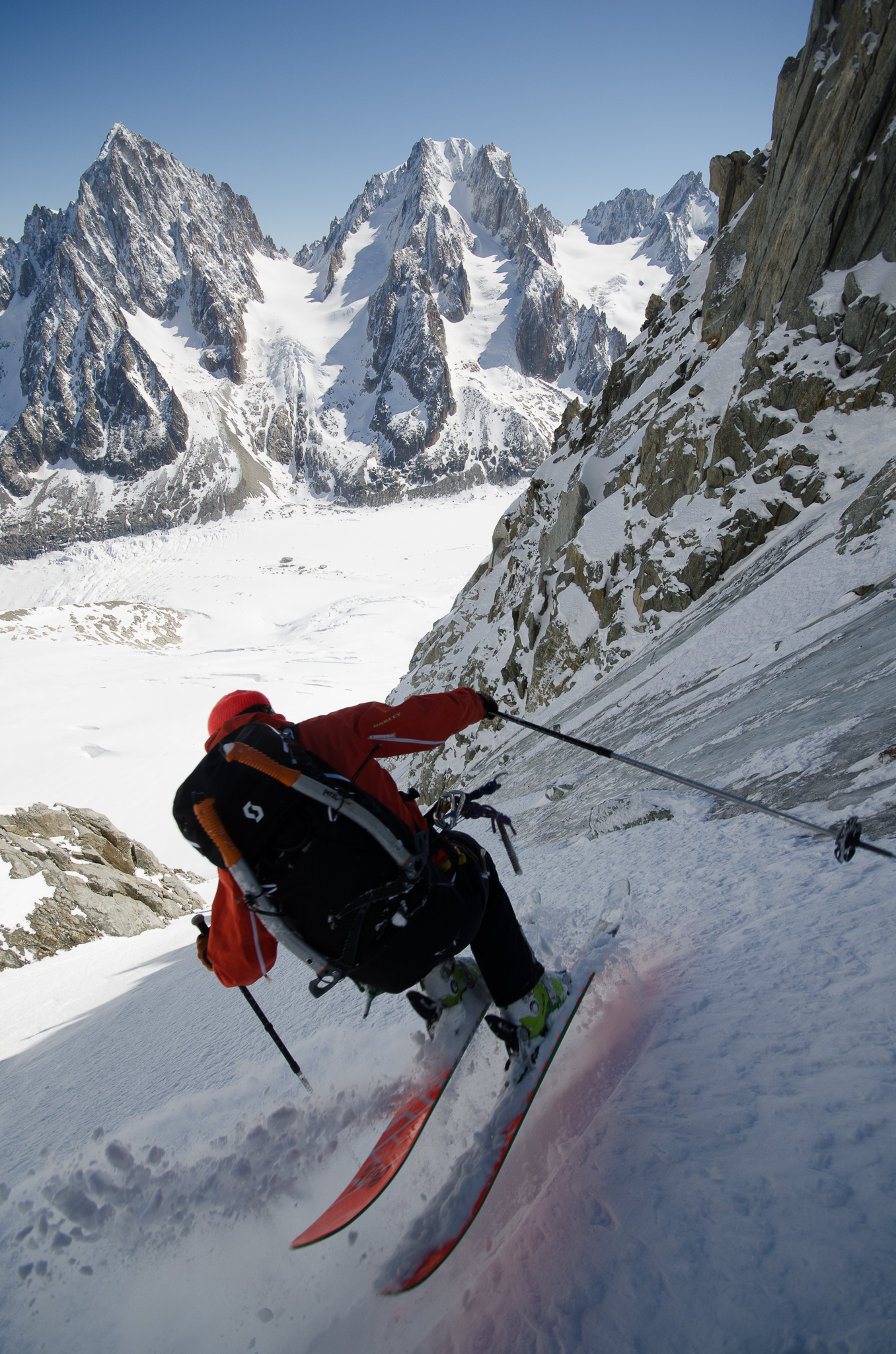 When it comes to high-angle ski photography, few can match Figenshau's skill set. Nathan Wallace on the Tour Ronde in Chamonix, France. PHOTO: Chris Figenshau