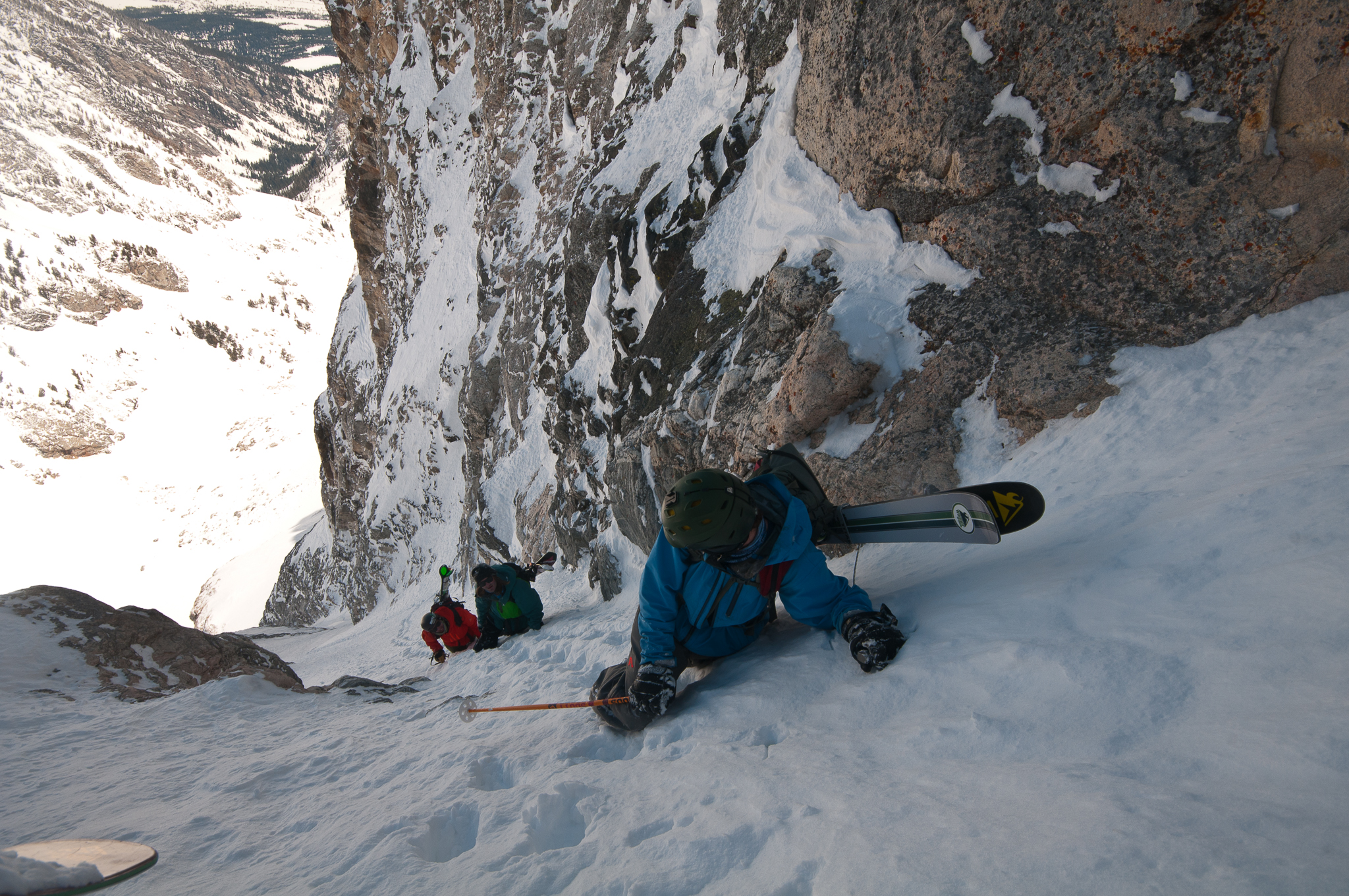 Calm and reliable, Figs quietly documents elite mountaineering teams across the globe. Here, he points his lens down a spicy line in the Tetons. PHOTO: Chris Figenshau