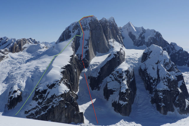Noah Howell and Ben Peters' original objective on the Moose's Tooth is marked in red. After climbing to the top along the green line, they made the call to abort their chosen route and ski down their ascent line. PHOTO: Noah Howell