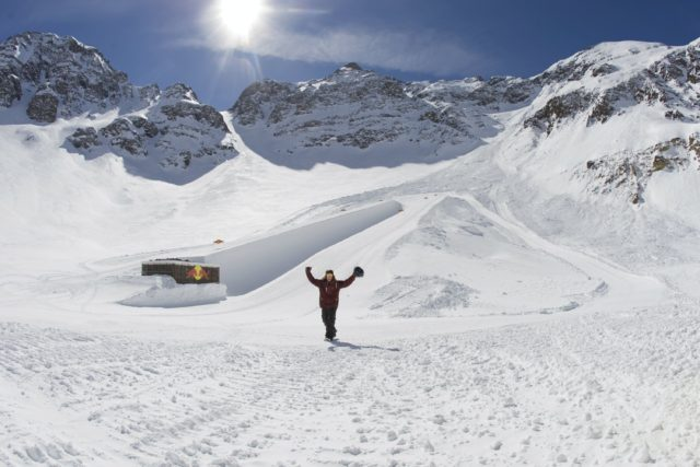 Shaun White checking out the breathtaking location (literally, Silverton is the highest ski area in Colorad) for his all natural halfpipe. PHOTO: Red Bull