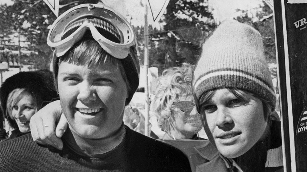 U.S. ski racer Marilyn Cochran (left) took second in the giant slalom at Squaw Valley on March 1, 1969, the last time a World Cup race was held there. She is pictured with France's Florence Steurer, who won the race. PHOTO: Bill Young/Squaw Valley