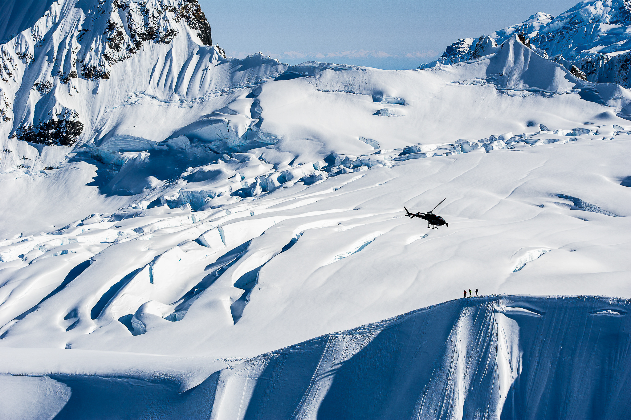 Richard Permin, Cody Townsend and Markus Eder. Tordrillo Mountains, Alaska