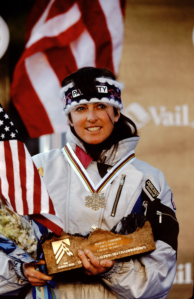 Tamara McKinney celebrating a victory for Women's Combined First Place at the 1989 Alpine Ski Championships in Vail, Colorado. PHOTO: Lori Adamski Peek
