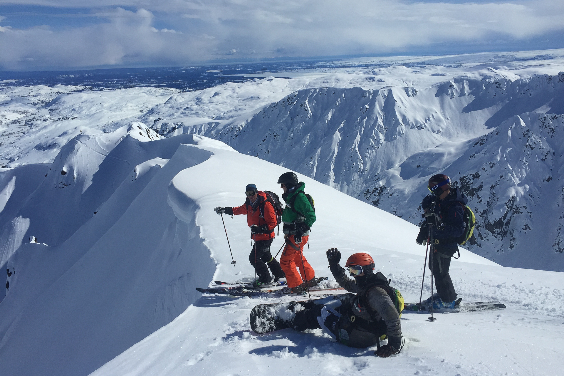 Moe, in the red jacket, guides in Alaska three months a year, and urges more people to educate themselves on backcountry safety basics before venturing beyond the gates. PHOTO: Mike Overcast
