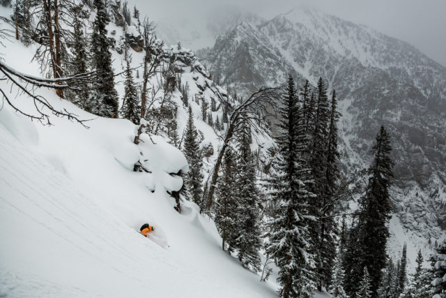 Dan Corn rips a line in Grand Teton National Park.