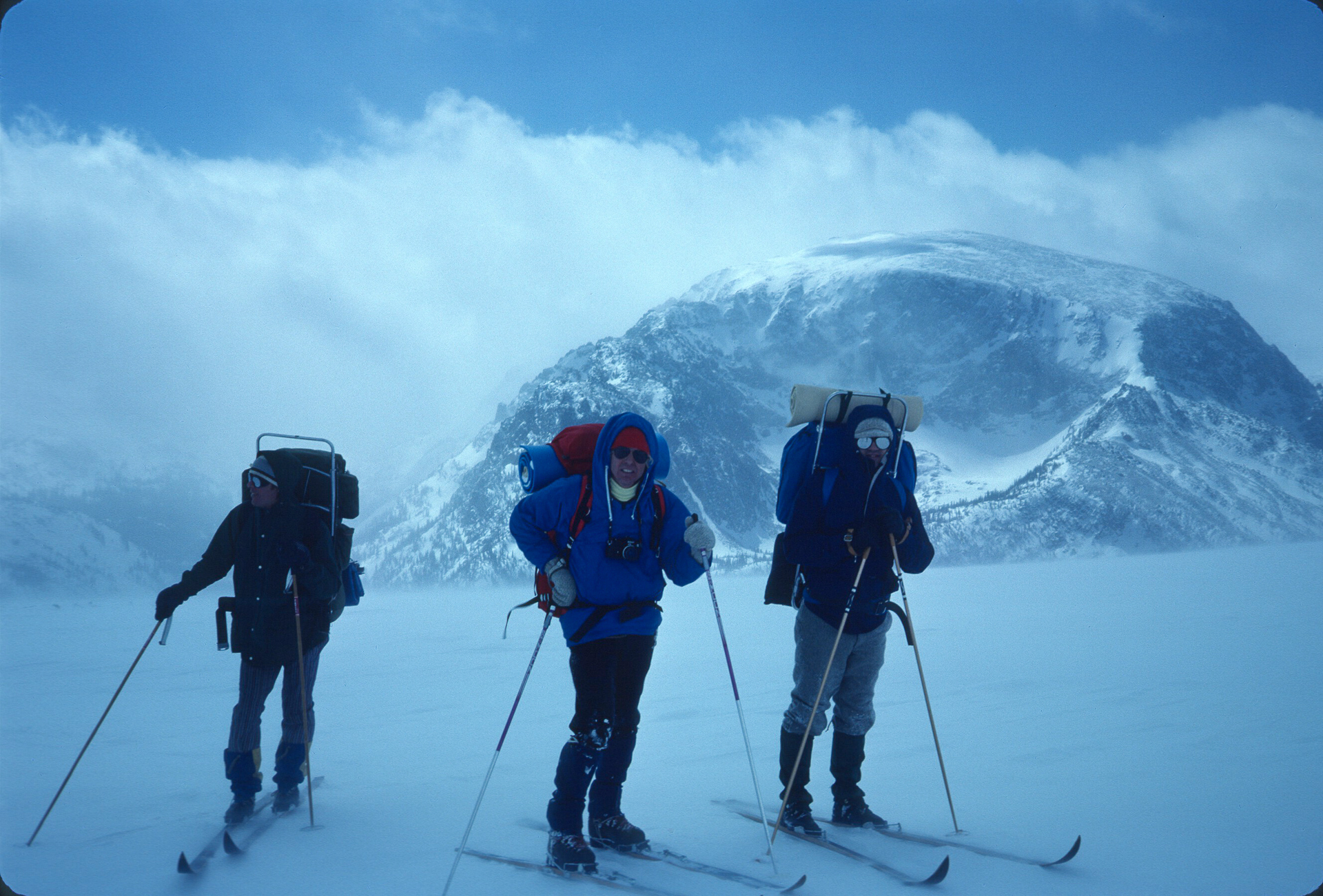 Glenn Porzak, Mike Browning and Ed Ramey during the first winter traverse of Trail Ridge Road in 1968.