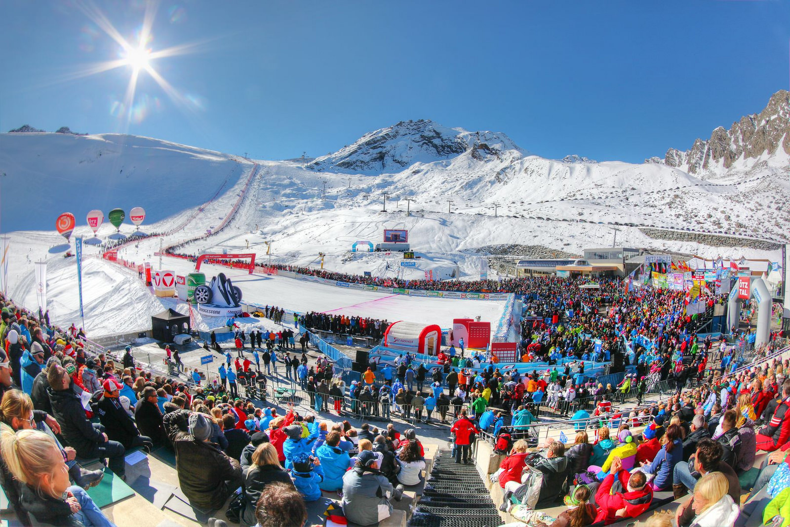 Austrian fans—among the most enthusiastic in Europe—line the GS course at Sölden.