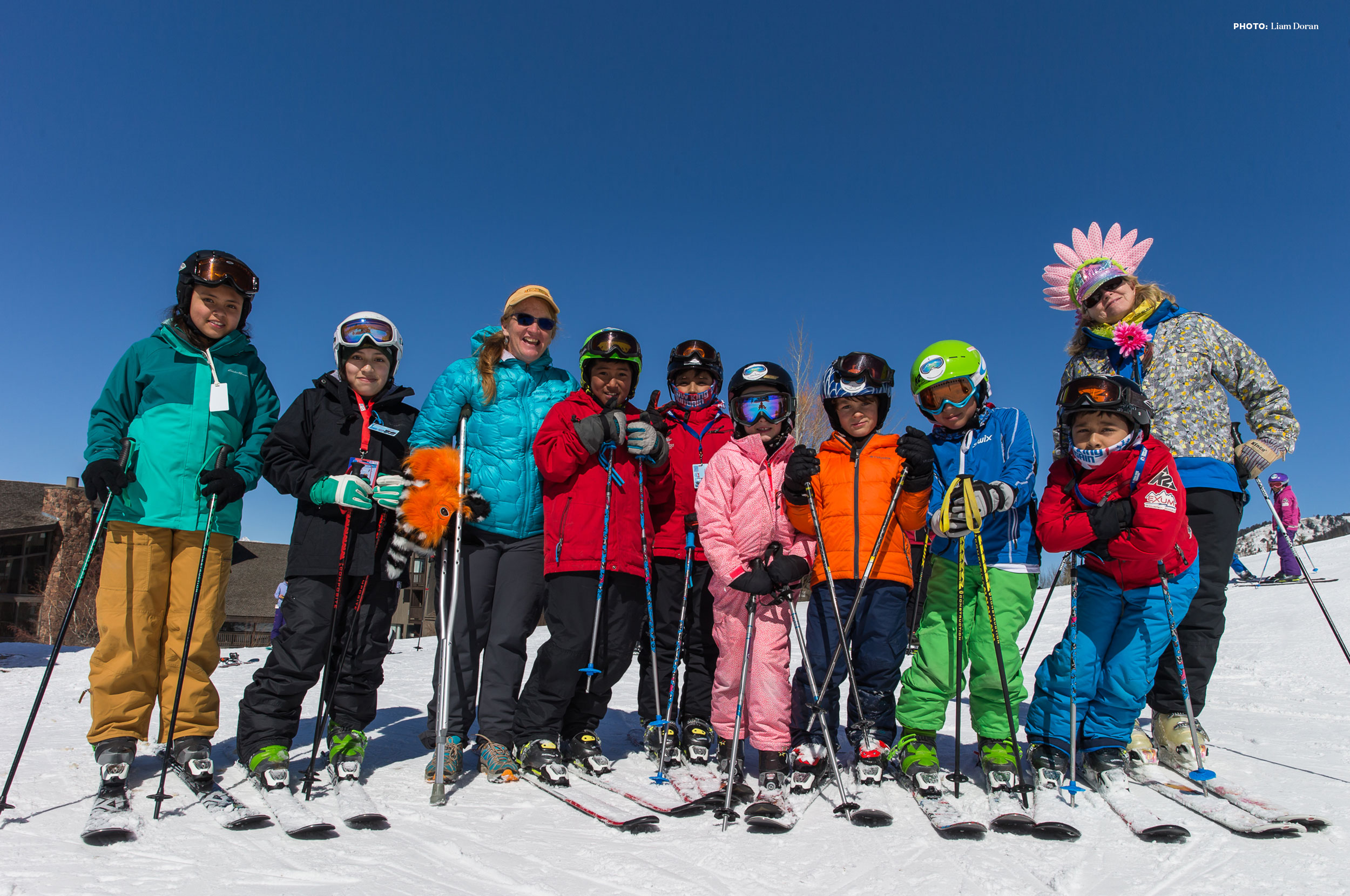 Emily Coombs and kids learning to ski