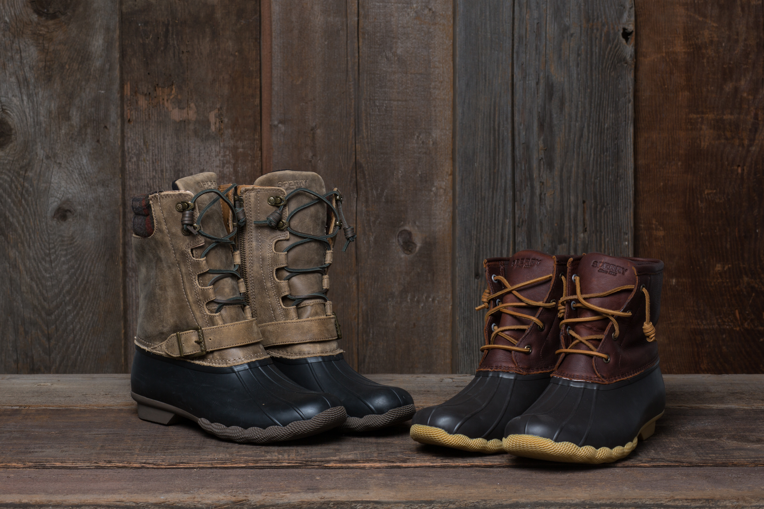 Still a low-profile boot easy to travel in, a higher shaft and leather outter make the the Saltwater Misty (left) a strong choice for burlier winter days. PHOTO: Maggie Kaiserman