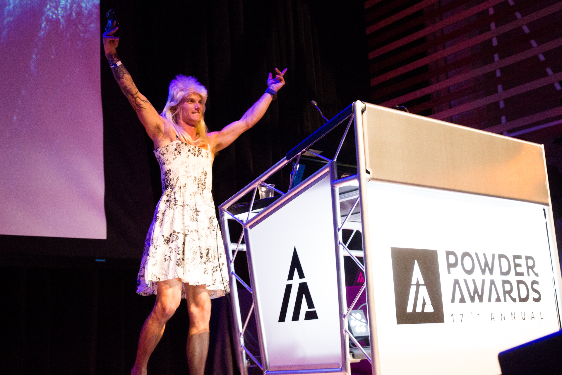 Angel Collinson looked a little different at the Powder Awards this year... PHOTO: David Reddick