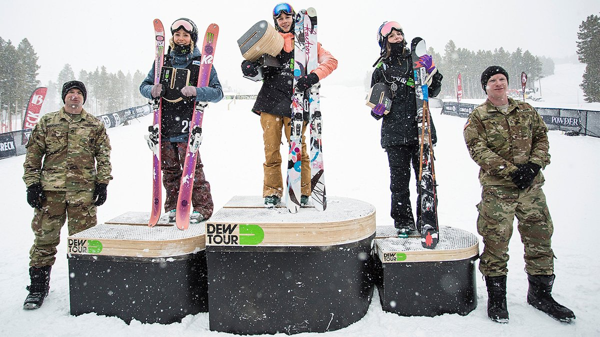 Kelly Sildaru, Maggie Voisin, and Kaya Turski celebrate their Dew Tour victories.