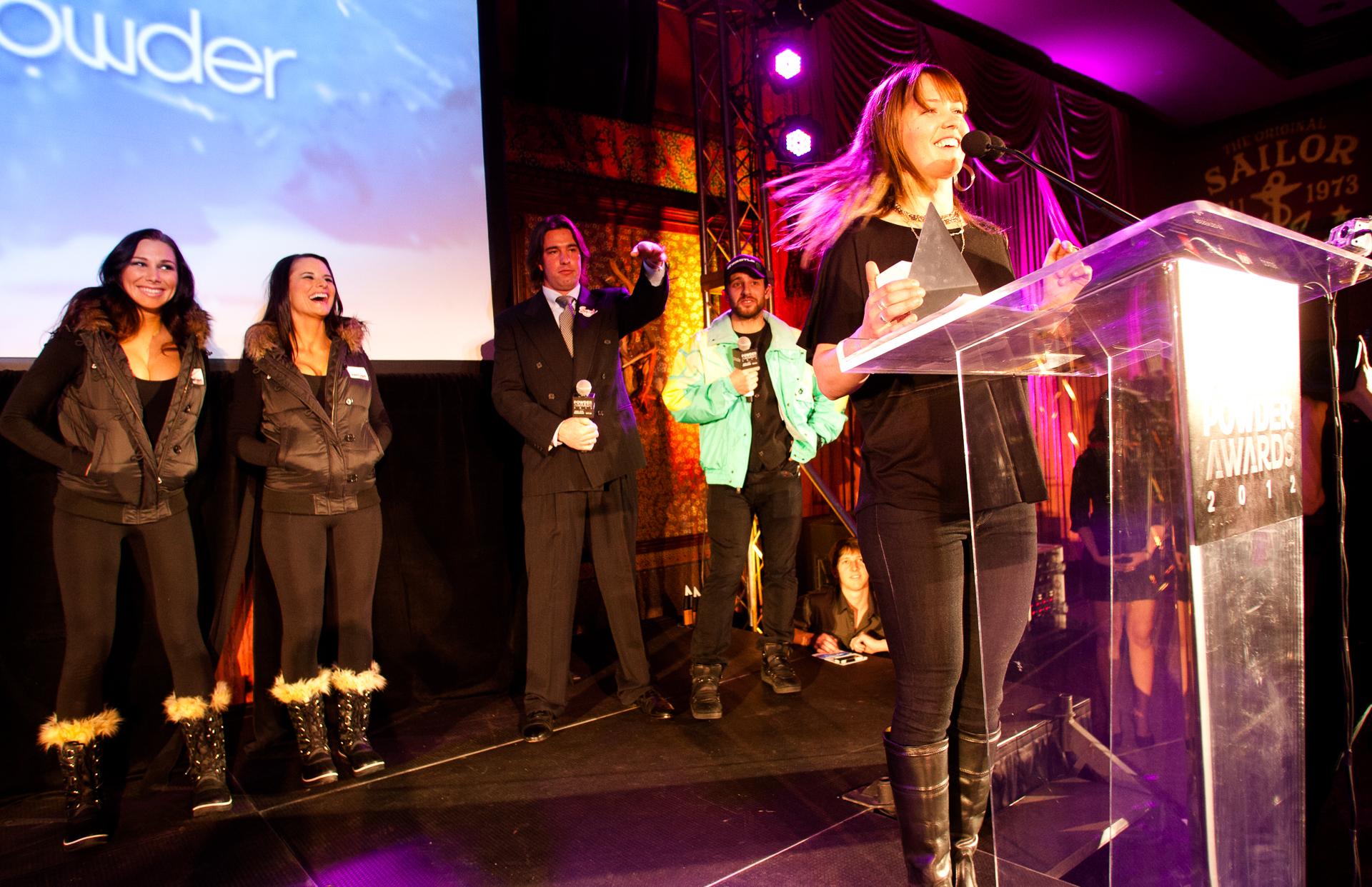 "Ingrid Backstrom accepts her award for ""Best Female Performance"" at the 2012 Powder Awards. PHOTO: David Reddick"