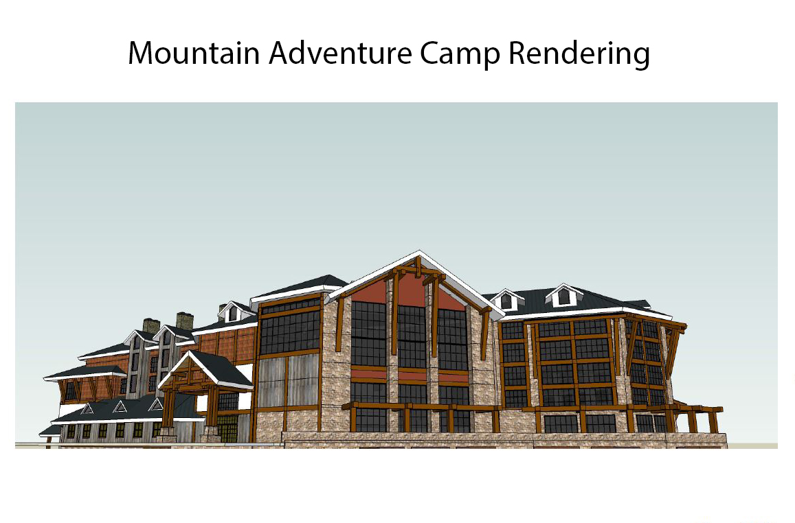 A rendering of Squaw Valley's Mountain Adventure Camp, part of the development recently approved by Placer County, that would include a waterpark among other facilities. PHOTO: Courtesy of Squaw Valley