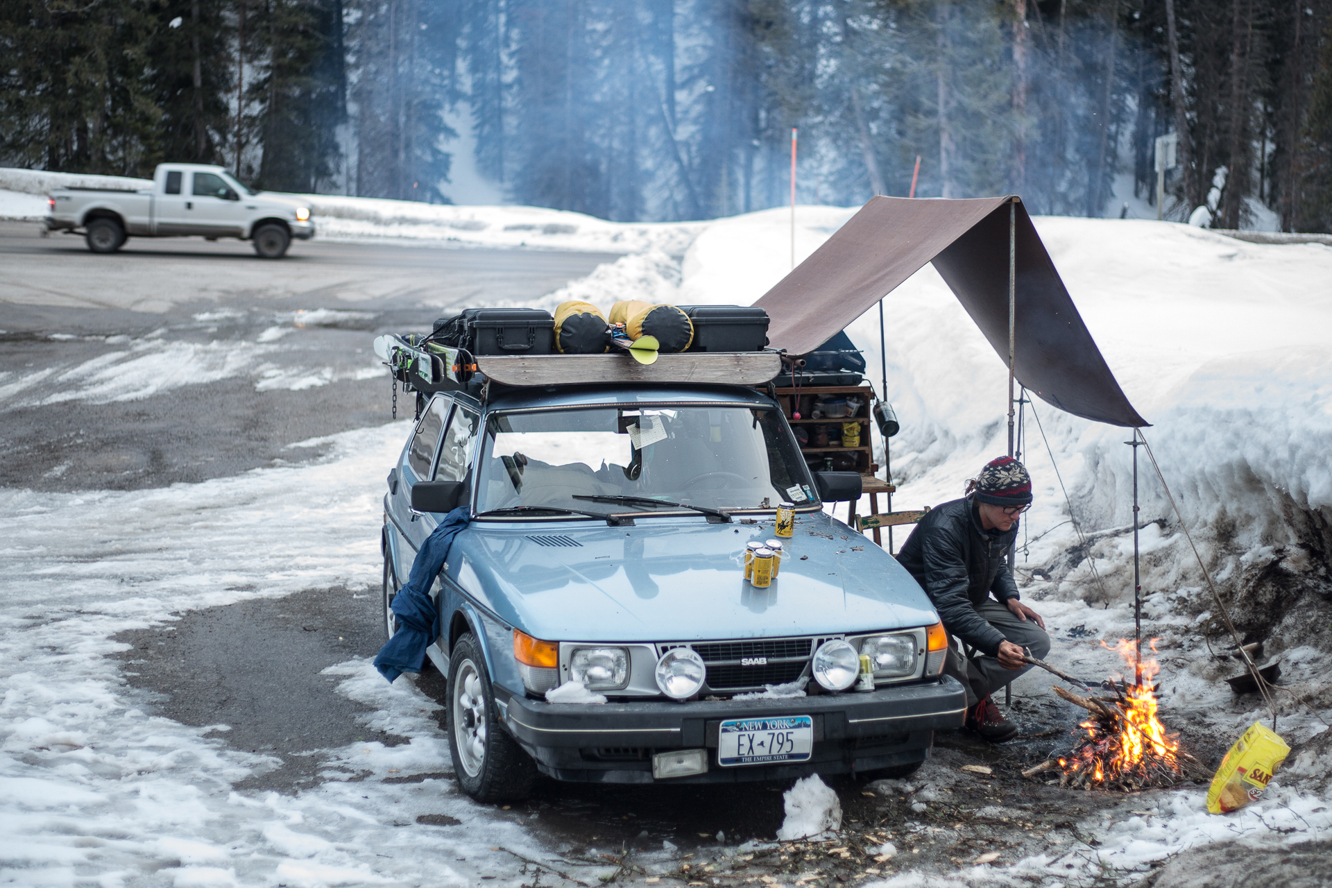 car camping in a saab