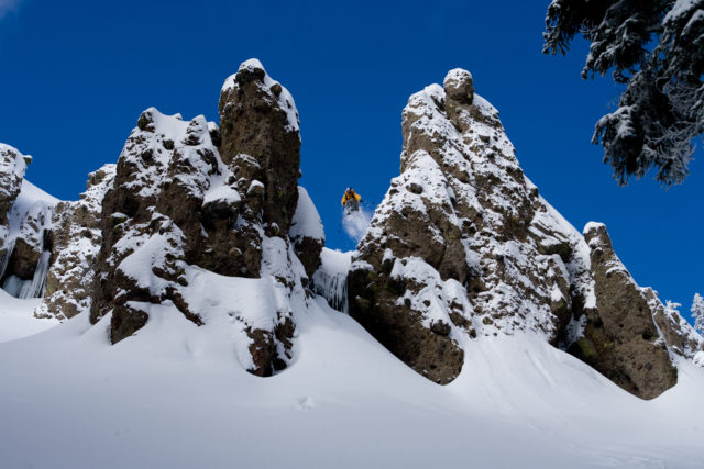Daron Rahlves has used the terrain at Sugar Bowl as a training ground to become one of the best skiers in the world. Here he is boosting in the Lakeview Cliffs. PHOTO: Grant Barta