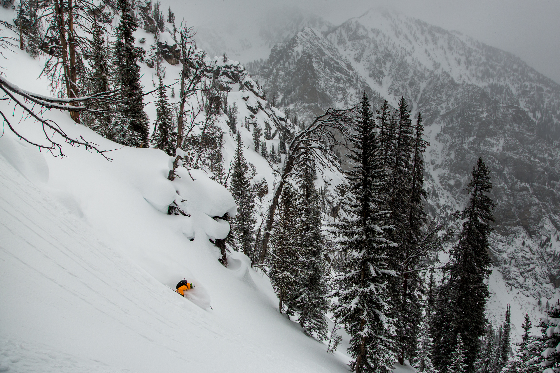 For all the attention given to technical routes, the classic powder run will always rule the day in the Tetons. Dan Corn Rides the wave in the southern part of the range. PHOTO: Mark Fisher