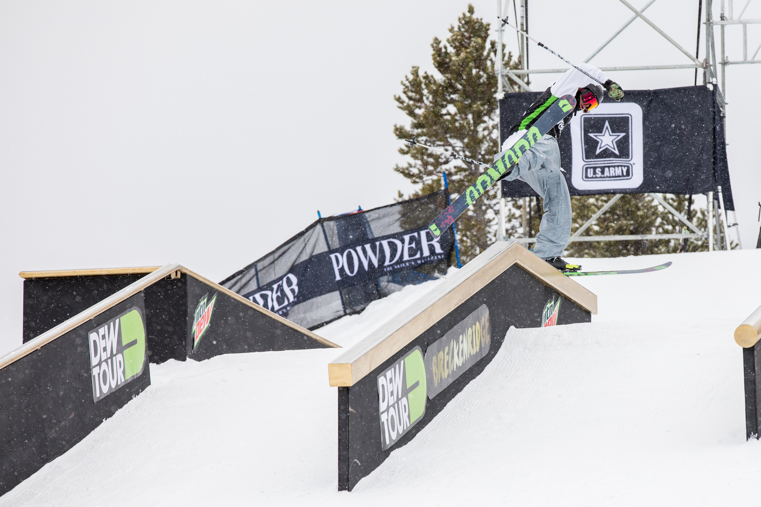 Quinn Wolferman showcased his unique style competing for Armada in the rail jam.