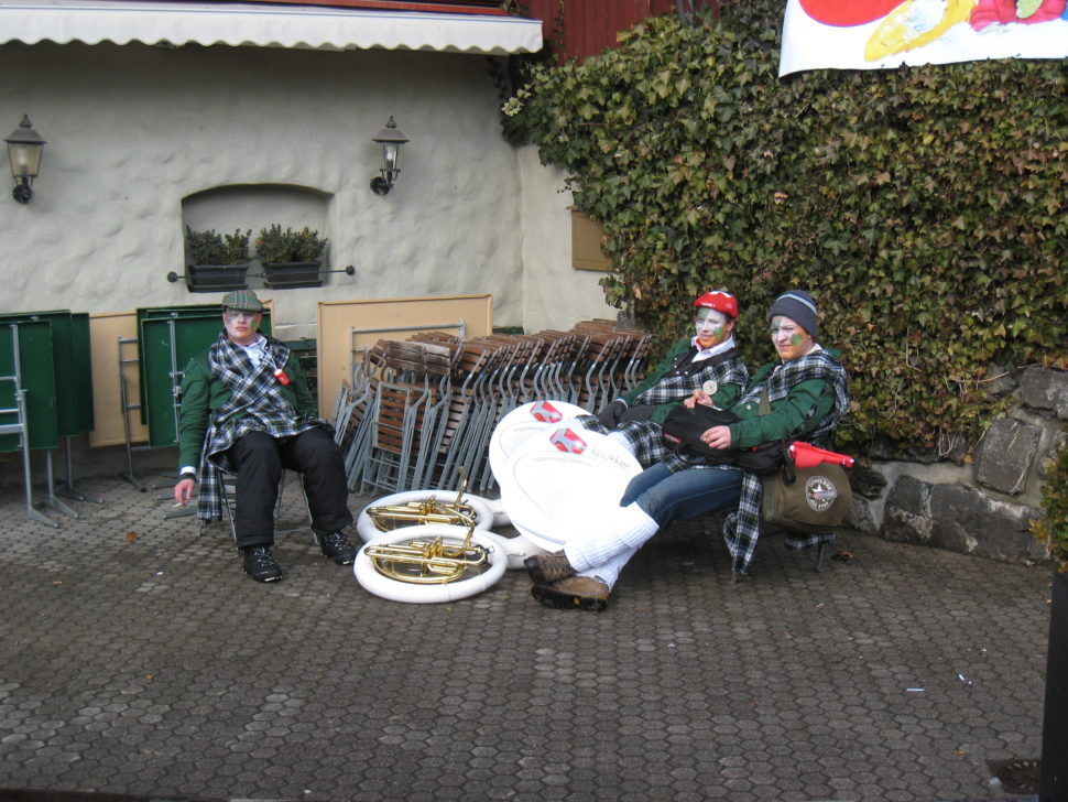 Tired tuba players relax after the races in Wengen. It's rumored they work as hard as the athletes. PHOTO: Doug Haney/U.S. Ski Team