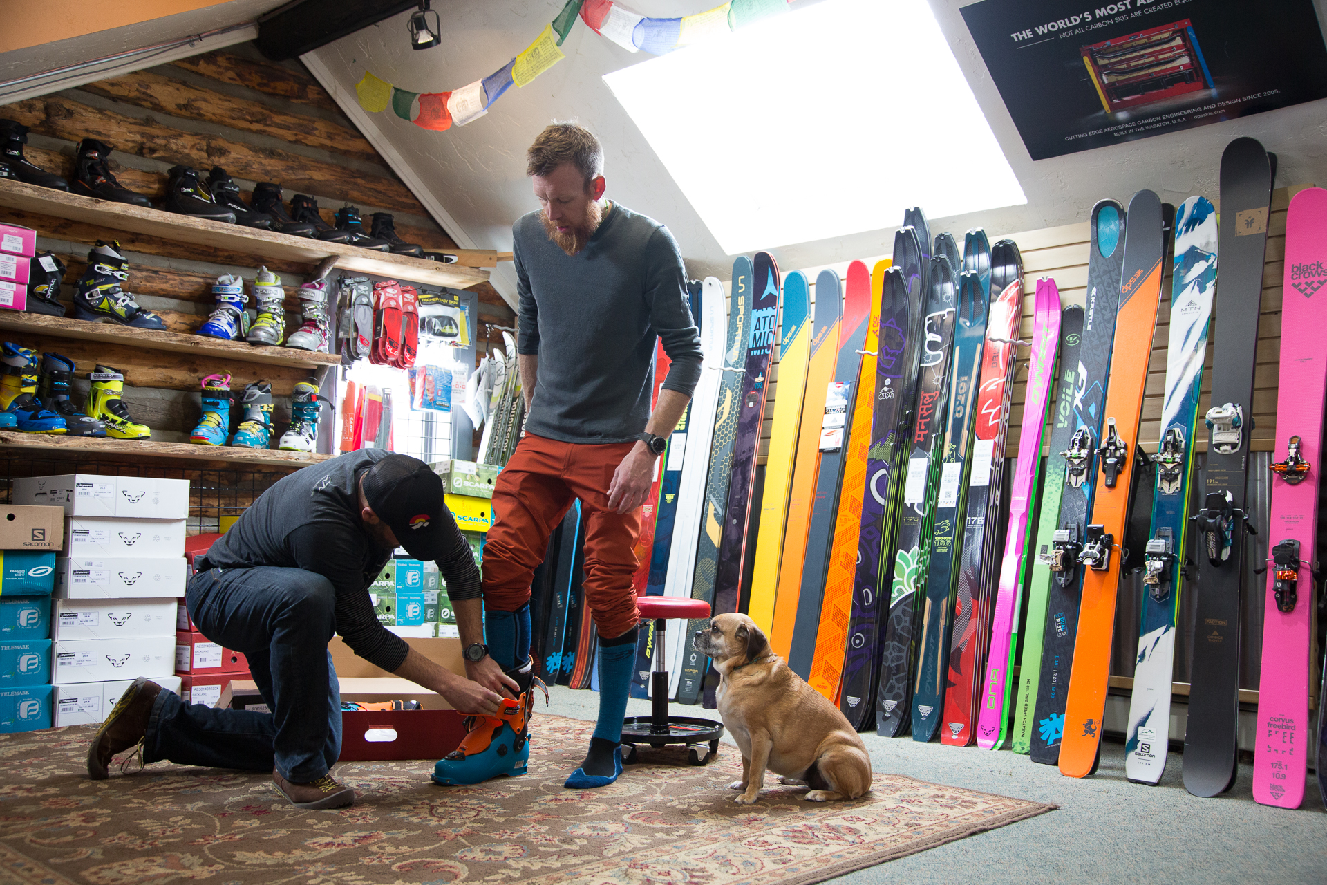 Two things you can't get online: A quality boot fit and a chill dog. PHOTO: Liam Doran