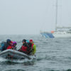 The Shifting Ice Team takes a zodiak ride from the Aurora Arctika to shore.