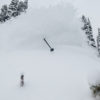 Tanner Flanagan finds the mother lode of snow off of the new Teton lift.